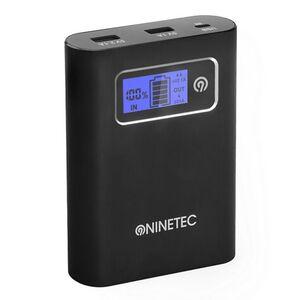 NINETEC PowerDrive 13.400 mAh Power Bank mit integriertem 32 GB USB Speicher, schwarz