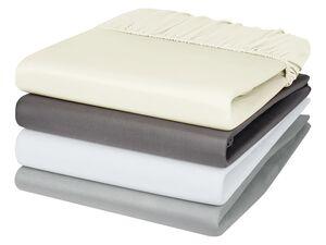 MERADISO® Satin Spannbettlaken, 140-160 x 200 cm, einlaufsicher, aus reiner Baumwolle
