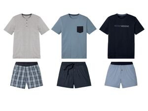 LIVERGY® Shorty Pyjama Herren, Hose mit Eingrifftaschen, mit Baumwolle