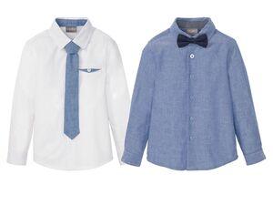 LUPILU® Kleinkinder Hemd Jungen, 2-teilig, mit Kentkragen, aus reiner Baumwolle