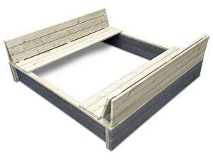 EXIT Sandkasten XL »Aksent«, FSC 100%, mit Sitzbänken, Rückenlehnen und Abdeckung