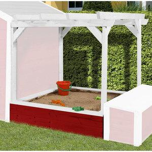 "Pergola ""Tabaluga"" für Kinderspielhaus 818 inkl. Sandkasten, rot/weiß"