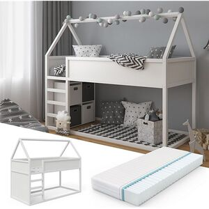 VitaliSpa Hochbett Pinocchio 90x200cm Kinderbett weiß Hausbett inkl 7-Zonen Matratze