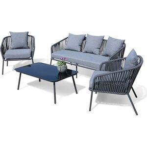 Grasekamp Lounge Sitzgruppe 4 teilig mit dicken  Kissen Grau Coffee Set Arezzo Aluminium  Loungeset Garten Sitzgruppe Loungemöbel