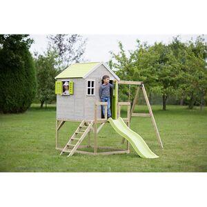 Wendi Toys Kinderspielhaus Elefant Spielturm inkl. Veranda, Rutsche und Schaukel in Lime