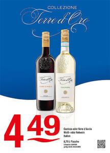 Collezione Terre d'Oro Custoza oder Nero d'Avola Weiß- oder Rotwein Italien
