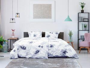Primera Perkal Bettwäsche »Aquarell Blumen grau«, verschiedene Größen, mit Reißverschluss