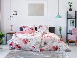 Primera Perkal Bettwäsche »Aquarell Blumen rot«, verschiedene Größen, mit Reißverschluss