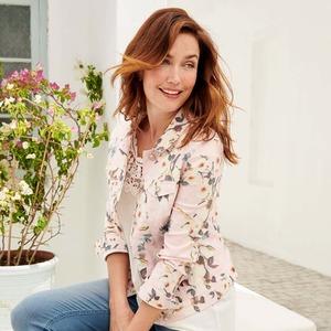 Damen-Jeansjacke mit tollem Blumenmuster