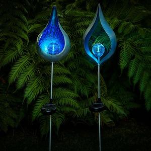 Solar-Leuchte mit blauer Flamme, ca. 93cm