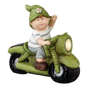 Dekofigur auf schönem Motorrad mit LED, ca. 16x8x16cm