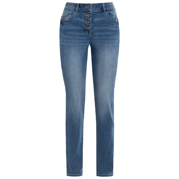 Damen Slim-Jeans mit Knopfleiste