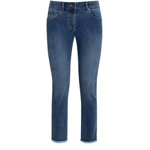 7/8 Damen Straight-Jeans mit Fransen