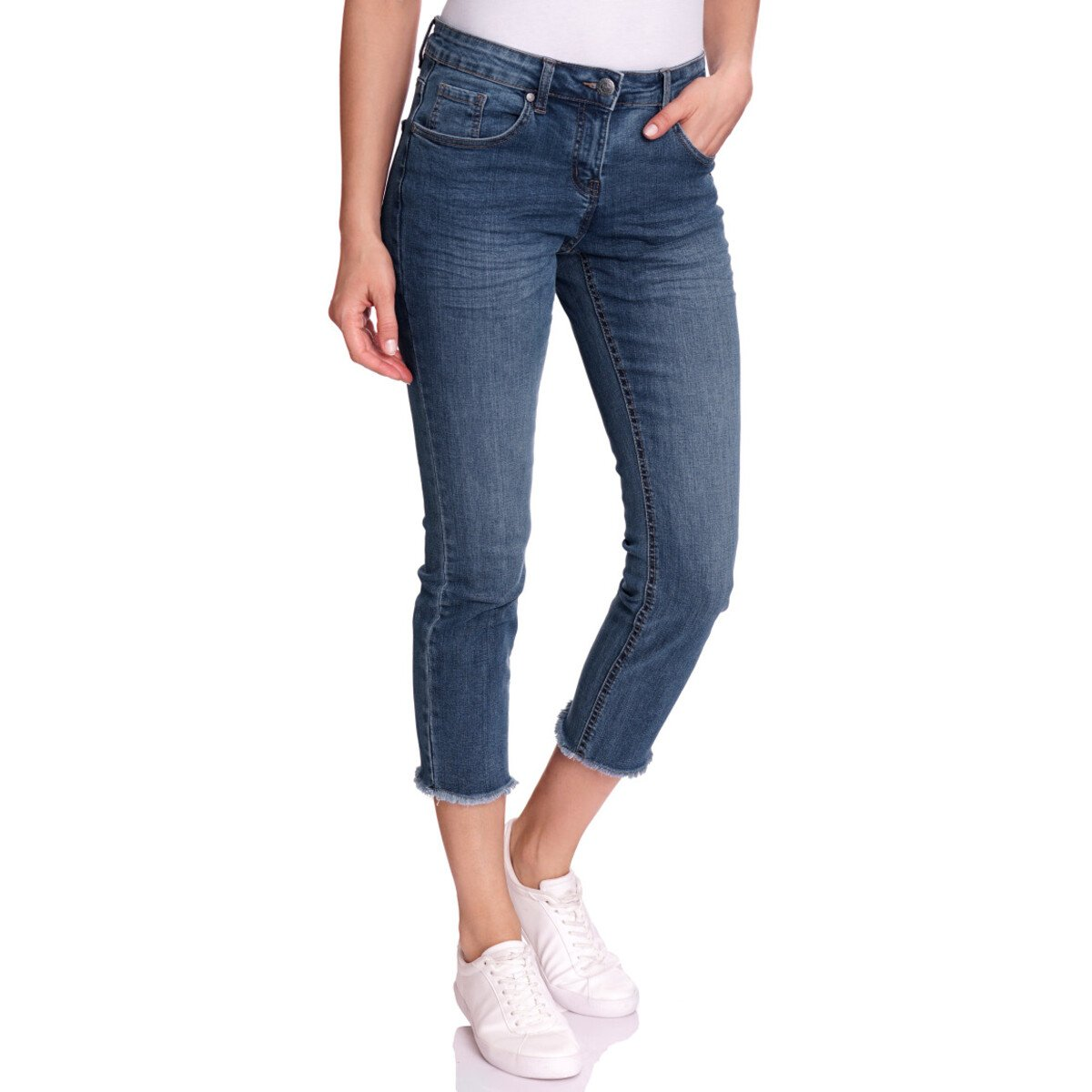 Bild 2 von 7/8 Damen Straight-Jeans mit Fransen