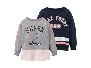 LUPILU® Mädchen Sweatshirt, 2 Stück, hoher Baumwollanteil, mit Elasthan, mit Aufdruck