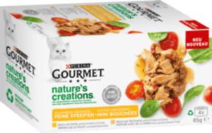 GOURMET Nassfutter für Katzen, Adult, Nature's Creations, reich an Huhn, garniert mit Spinat & Tomaten, reich an Truthahn, garniert mit Spinat & Pastinaken