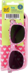 SUNDANCE Sonnenbrille für Kinder mit passendem Etui Pink mit Herz-Dekor