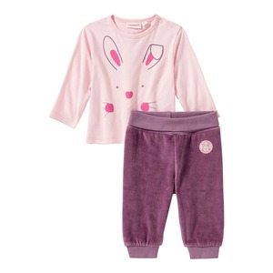 Baby-Mädchen-Set mit Hasen-Frontaufdruck, 2-teilig