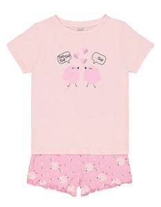 Mädchen Pyjama mit Küken-Print