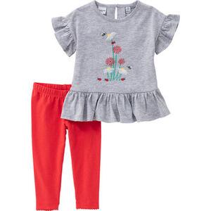 Manguun T-Shirt & Leggings, 2tlg. Set, Rüschen, für Baby Mädchen