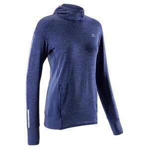 Kapuzen-Sweatshirt Run Warm Damen blau