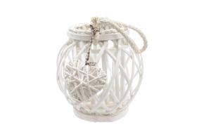Kaemingk - Weidenlaterne mit Seilgriff in weiß, 22 cm