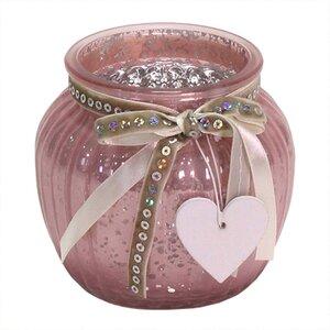 Windlicht mit Herz rosa 11,5 x 10,5cm