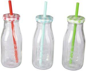 Trinkflasche - mit Strohhalm und Deckel - 300 ml - 1 Stück