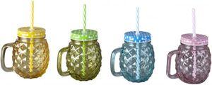 Trinkglas - mit Deckel und Strohhalm - 450 ml - 1 Stück