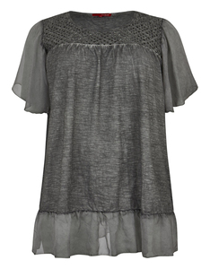 THEA - Jersey-Shirt mit Spitze, Oil-dyed
