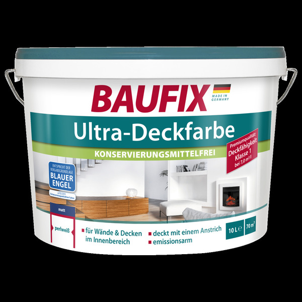 BAUFIX Ultra-Deckfarbe weiß konservierungsmittelfrei