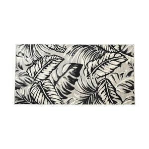 In-/Outdoorteppich Blätter, L:150cm x B:80cm, grau
