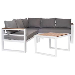 Garten-Lounge-Ecke mit Tisch, 4-teilig, weiß