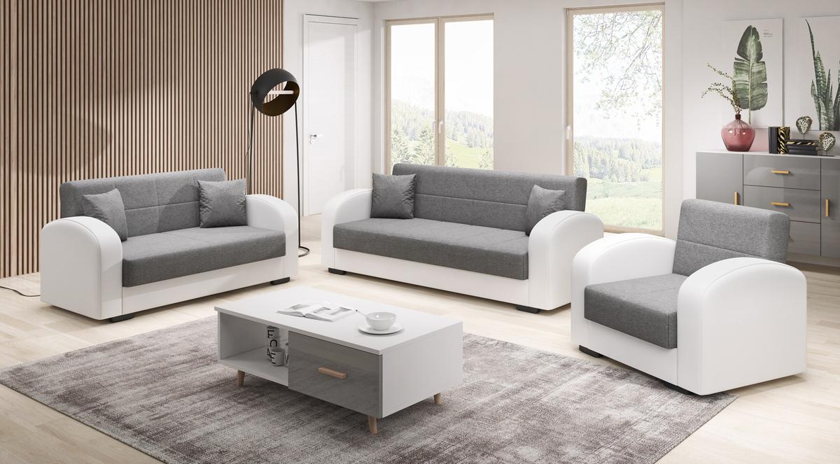 Bild 2 von IHG 3-2-1 Sofa Set Vera anthrazit Armlehne weiss Sofa mit Schlaffunktion und Bettkasten
