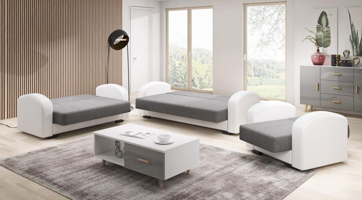 Bild 3 von IHG 3-2-1 Sofa Set Vera anthrazit Armlehne weiss Sofa mit Schlaffunktion und Bettkasten