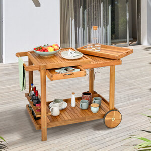 Outdoor Grill Trolley, Servierwagen mit 2 Tabletts