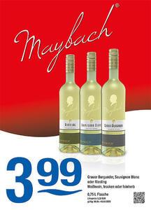 Maybach Grauer Burgunder, Sauvignon Blanc oder Riesling Weißwein, trocken oder feinherb
