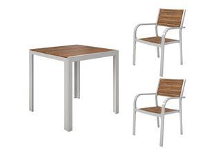 FLORABEST Balkonmöbel Set, Alu/Holz, 3-teilig, Stapelsessel