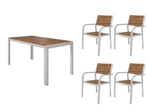 FLORABEST Gartenmöbel Set, Alu/Holz, 5-teilig, Stapelsessel