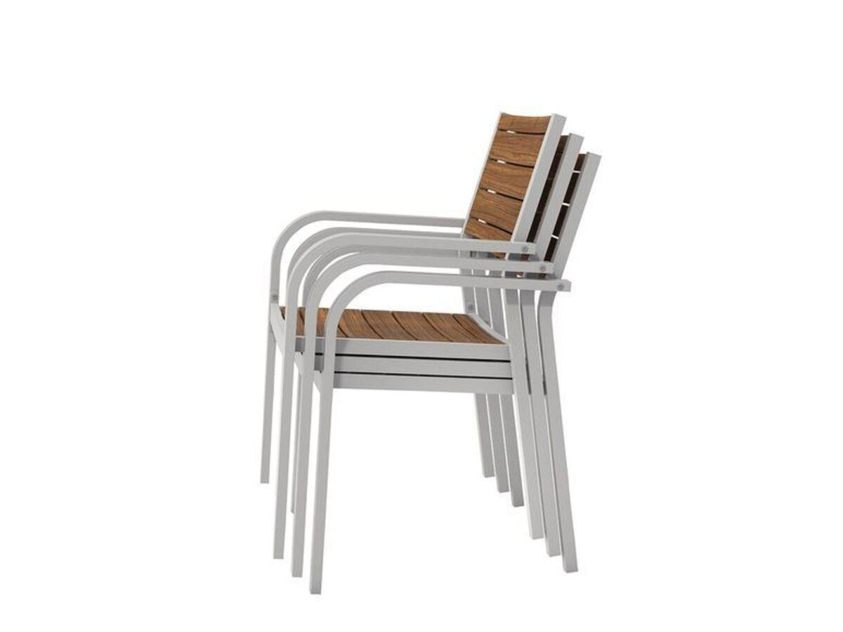 Bild 4 von FLORABEST Gartenmöbel Set, Alu/Holz, 5-teilig, Stapelsessel