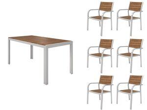 FLORABEST Gartenmöbel Set , Alu/Holz, 7-teilig, Stapelsessel