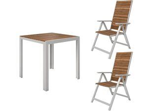 FLORABEST Balkonmöbel Set, Alu/Holz, 3-teilig, Klappsessel