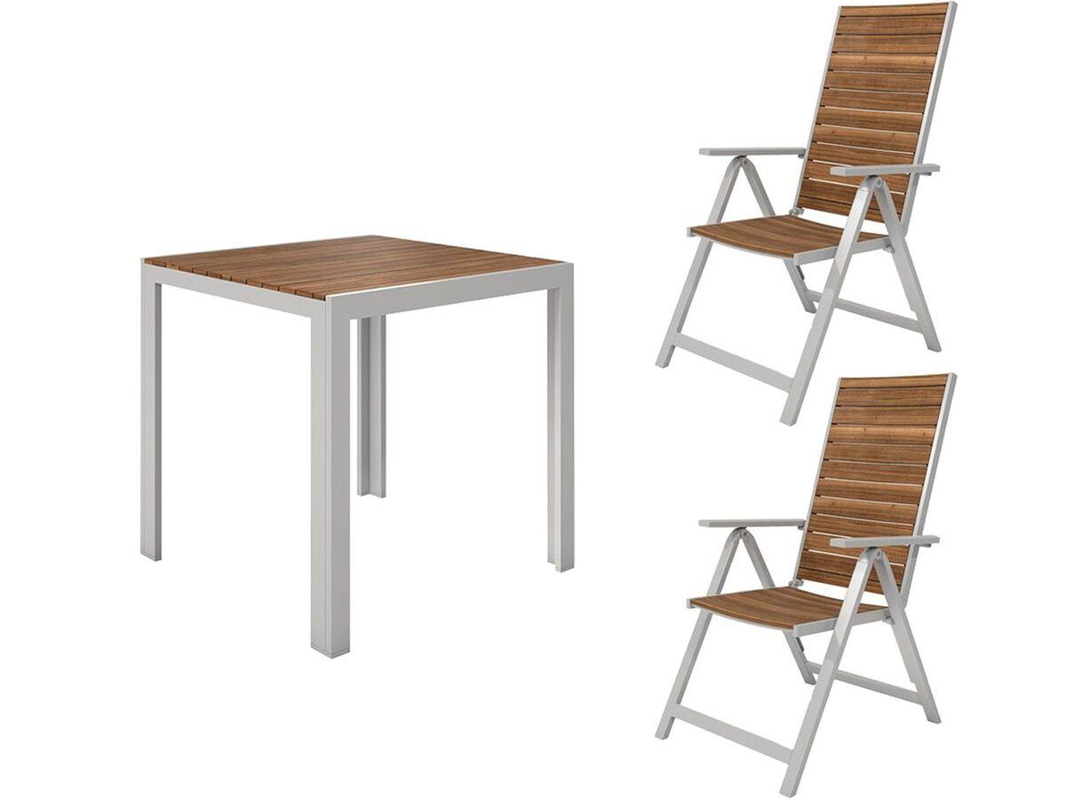 Bild 1 von FLORABEST Balkonmöbel Set, Alu/Holz, 3-teilig, Klappsessel