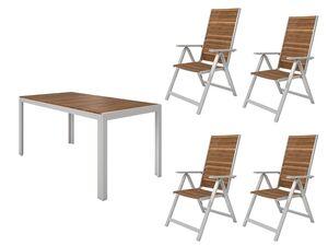 FLORABEST Gartenmöbel Set , Alu/Holz, 5-teilig, Klappsessel