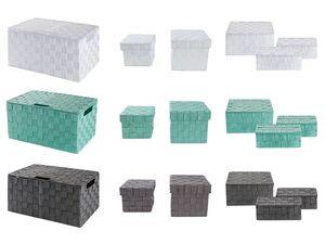 LIVARNO LIVING® Aufbewahrungsboxen, geflochten, mit Deckel, Innenrahmen aus Metall