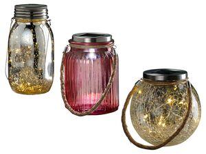 MELINERA® LED Solar Laterne, aus Glas, 8 Stunden Leuchtdauer