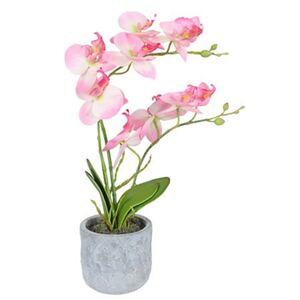 Künstliche Orchidee im Topf mit 2 Rispen Rosa 36cm