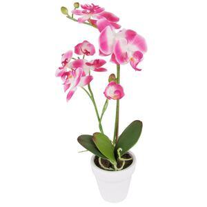 Künstliche Orchidee mit 2 Rispen Pink