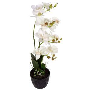 Künstliche Orchidee mit 3 Rispen Weiß
