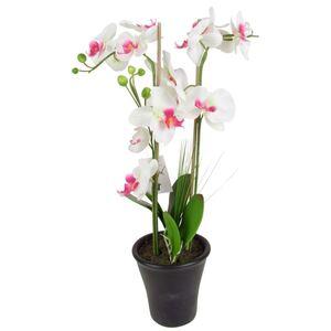 Künstliche Orchidee mit 2 Rispen Weiß